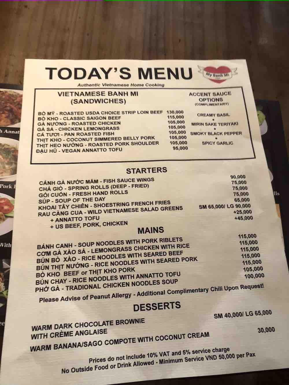 MyBanhmi menu